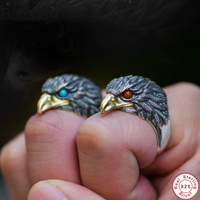 Two colors Punk Animal Ring 925 Sterling Silver Eagle Head Rings for Men Male Semi precious Stone Men's Jewelry Red and green