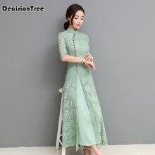все цены на 2019 chinese style dress vietnam aodai chinese traditional dress green two pieces cheongsam dress robe chinoise qipao онлайн