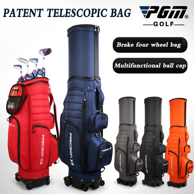 2020 New Product Patented Telescopic Golf Standard Bag Men's Women's Air Carrier Bag Styles with Brakes Universal Four Wheel PGM
