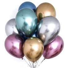 Party Decoration Latex Balloon Thickening Pearl Light Gold And Silver Chrome Color Metal Balloon 12 Inch 2.8 Can Metal Balloon(China)