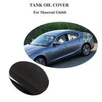 Shiny Surface Carbon Fiber Fuel Tank Cap Sticker Protector for 2014 2017 Maserati Ghibli Car Exterior Accessories