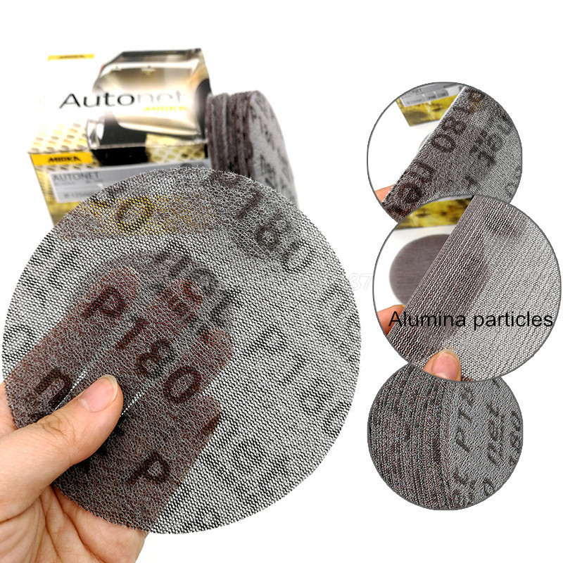1Pcs 5-inch 125MM Mesh Dust-free Anti-blocking Hook Loop Sanding Discs Round Abrasive Sandpaper Sand Dust Dry Grinding Cloth