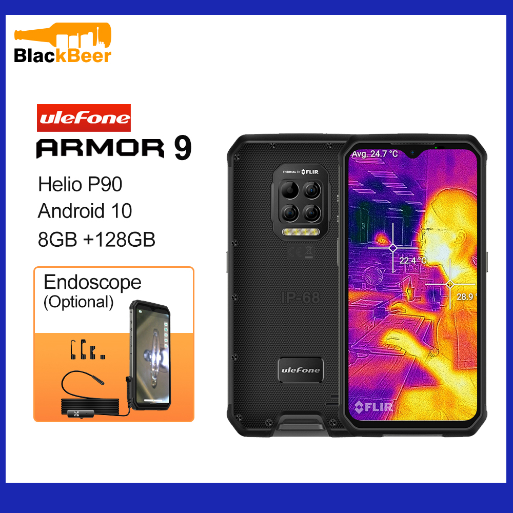 Ulefone Armor 9 Android 10 Mobile Phone Helio P90 Octa Core Smartphone IP68 IP69K Rugged Cellphone Thermal Imaging Camera 6600mA