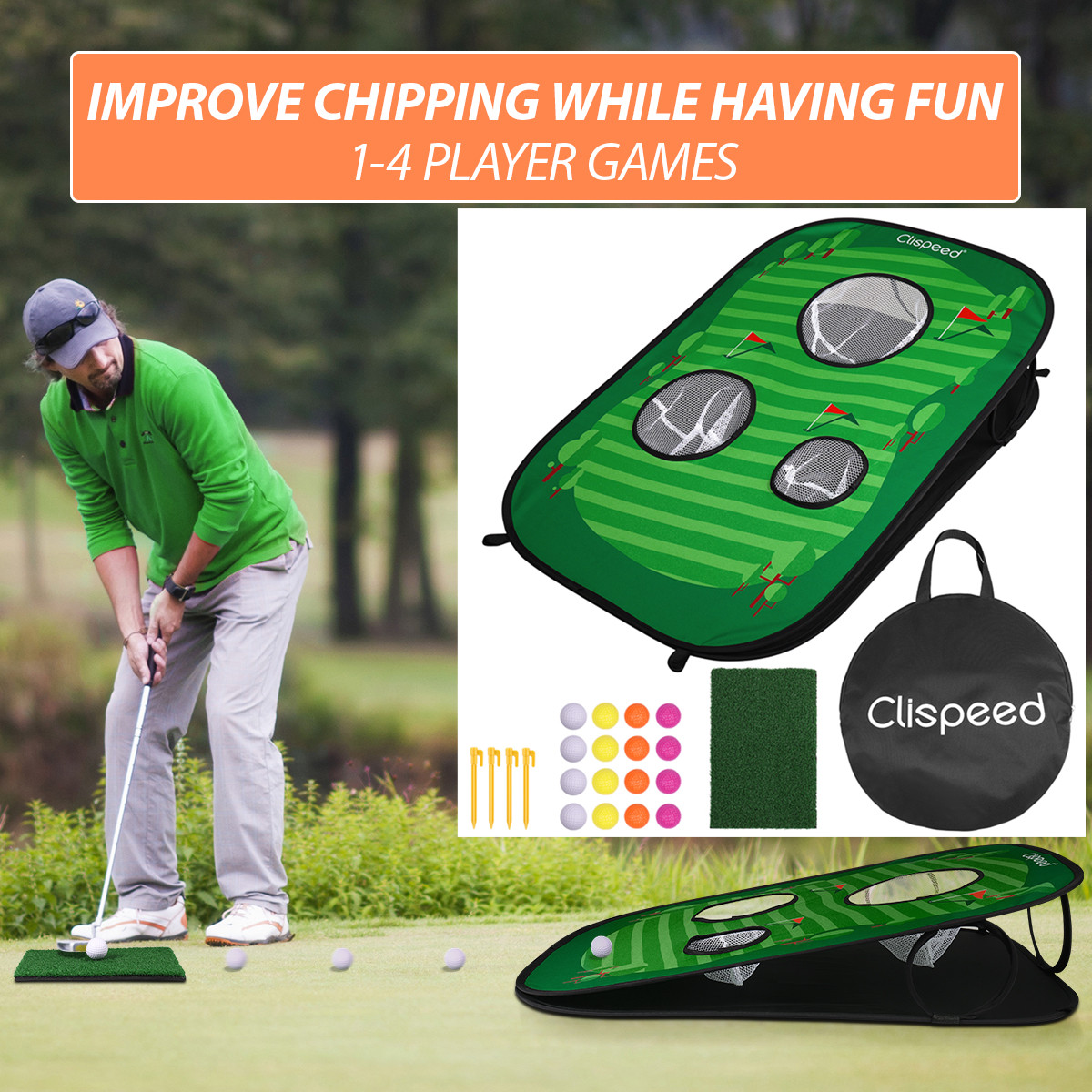 Foldable Golf Chipping Net Cornhole Game Set Golfing Target Net For Indoor Outdoor Practice Training Entertainment Games