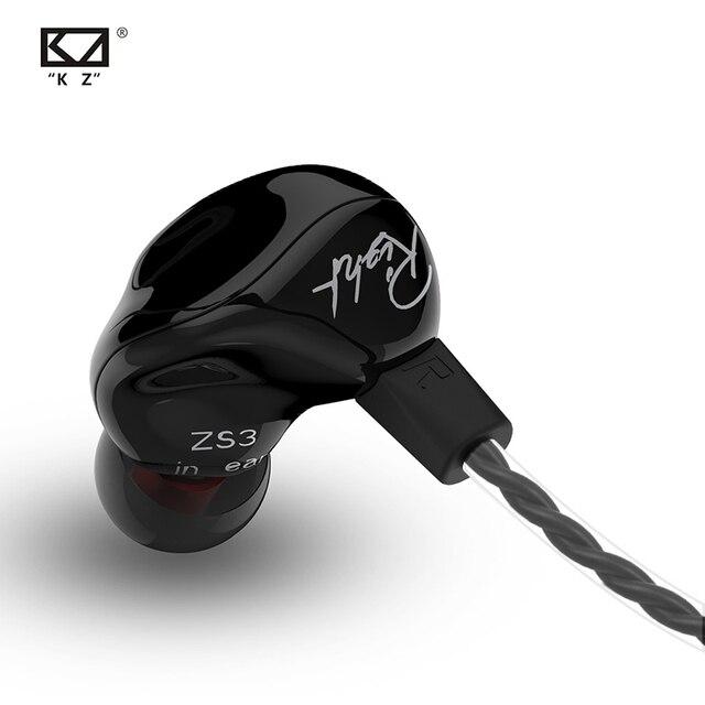 KZ ZS3 مريح انفصال كابل سماعة في الأذن الصوت شاشات عزل الضوضاء HiFi الموسيقى الرياضة سماعات الأذن مع الميكروفون es