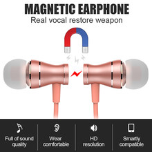 Earphones 3.5mm In Ear Headphones Magnetic Earbuds HiFi Stereo Sports Headsets With Mic Microphone Volume adjust for phone Mp3/4