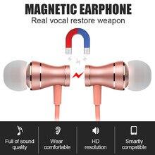 Fones de ouvido 3.5mm em fones de ouvido magnético fones de ouvido estéreo alta fidelidade esportes com microfone volume ajustar para o telefone mp3/4