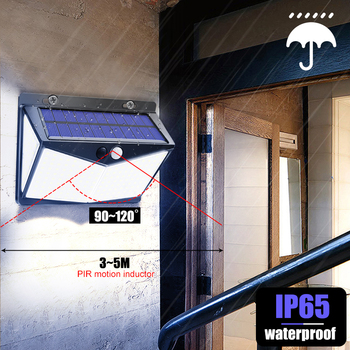Solar Lights Outdoor 208Leds Ip65 Waterproof Wireless Motion Sensor Light 270 ° Wide Angle  Wall Lights Solar Lamp With 3 Modes 5
