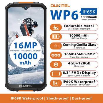 OUKITEL WP6 6.3 FHD+ IP68 Rugged Mobile Phone 4GB 128GB 10000mAh Battery Octa Core 16MP Triple Camera Smartphone