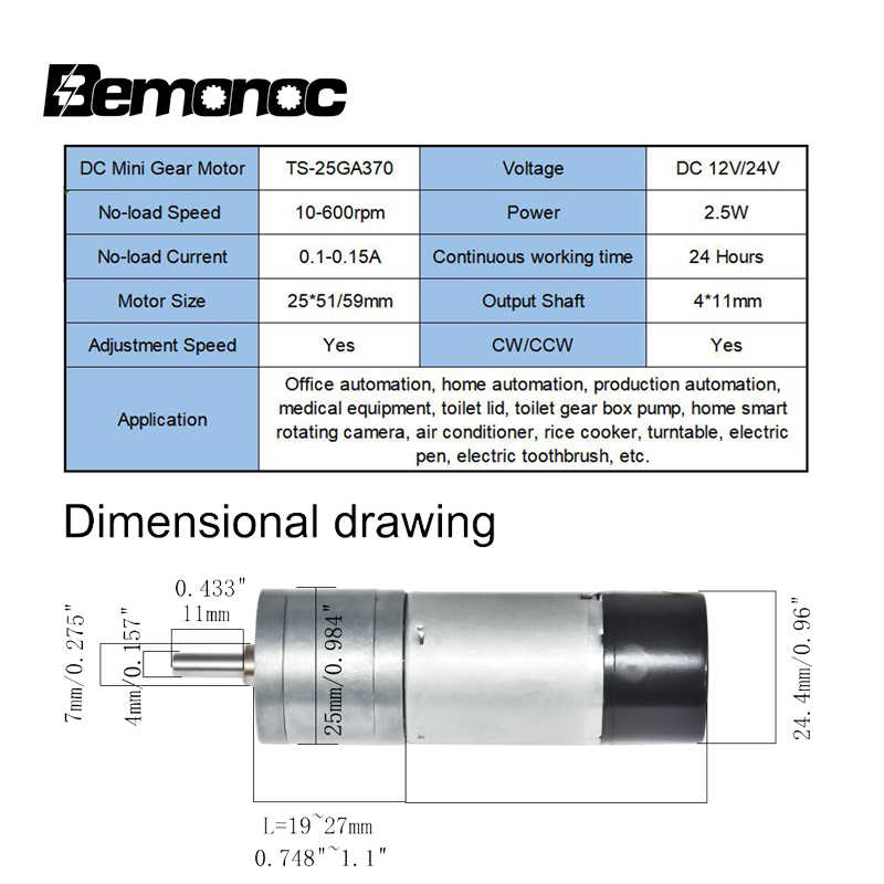 듀얼 채널 인코더가있는 bemonoc dc 12 v 24 v 기어 모터 diy 취미 용 10/15/25/35/60/80/130/150/300/600rpm 속도 전기 모터