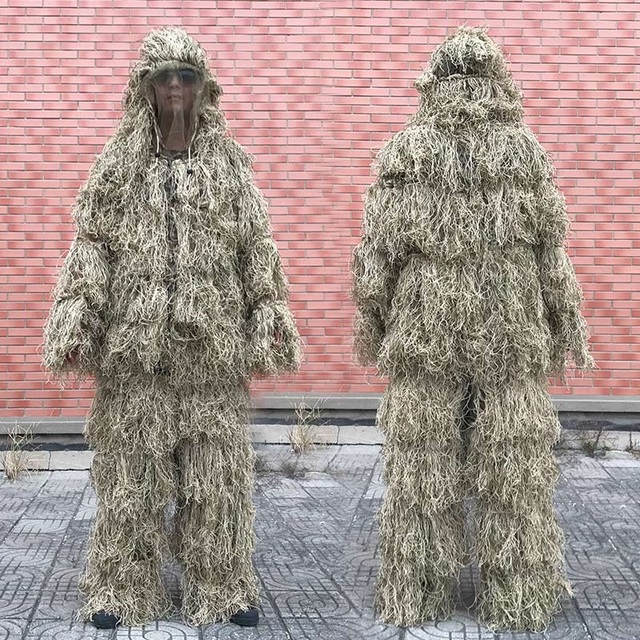 3D Withered Grass Ghillie Suit 4 PCS Sniper Military Tactical Camouflage Clothing Hunting Suit Army Hunting Clothes Birding Suit 1