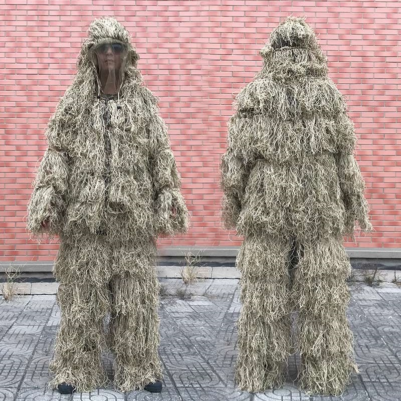 3D Withered Grass Ghillie Suit 4 PCS Sniper Military Tactical Camouflage Clothing Hunting Suit Army Hunting Clothes Birding Suit box clutch purse