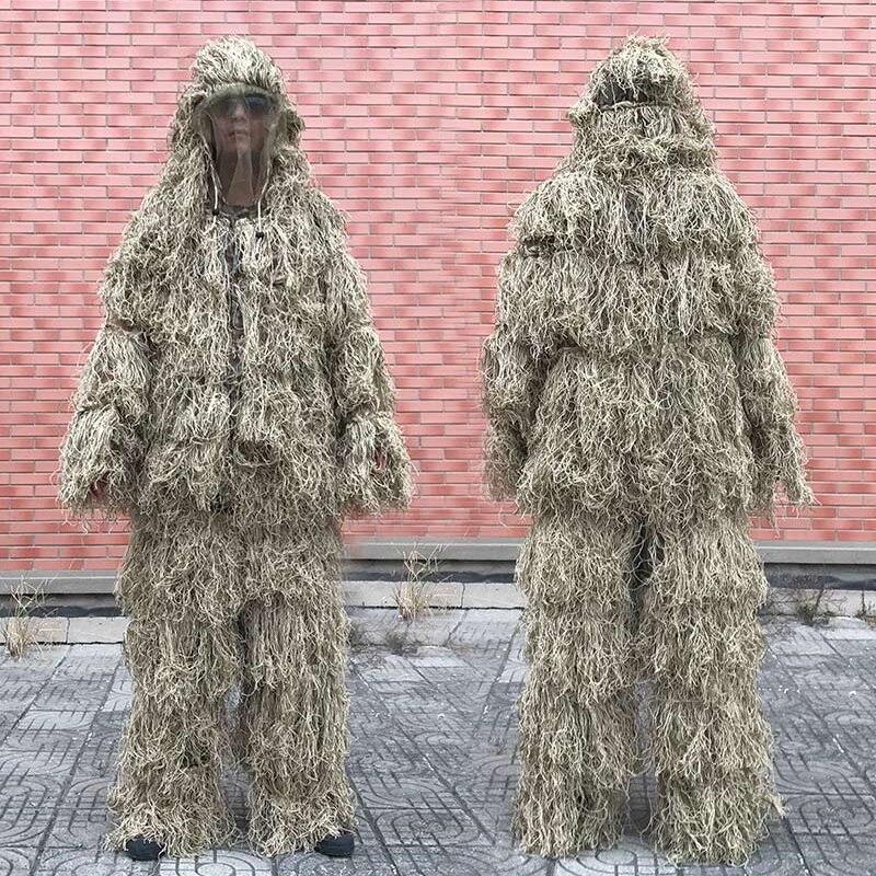 3D Withered Grass Ghillie ชุด 4 PCS Sniper ทหารยุทธวิธีลวงตาเสื้อผ้าชุดล่าสัตว์กองทัพเสื้อผ้าล่าสัตว์ Birding ชุด