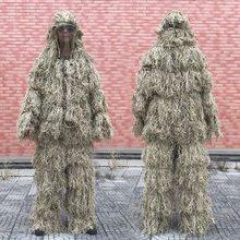 Combinaison Ghillie à motif d'herbe fanée 3D, 4 pièces, vêtements de Camouflage tactique militaire Sniper, tenue de chasse de l'armée, costume pour oiseaux