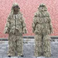 3D Withered herbe Ghillie costume 4 pièces Sniper militaire tactique Camouflage vêtements chasse costume armée chasse vêtements Birding costume