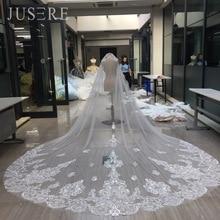 JUSERE ยอดเยี่ยมลูกไม้ Appliques ขอบรอบ 3m 2 ชั้น Tulle Cathedral หวียาว Iovry งานแต่งงานเจ้าสาว Blush Veil 2018