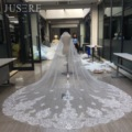 JUSERE Fabulous Lace Appliques Edge Around 3m Two Layers Tulle Cathedral With Comb Long Iovry Wedding Bridal Blush Veil 2018