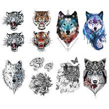 Тату наклейка с животными голова тигра волка геометрическая