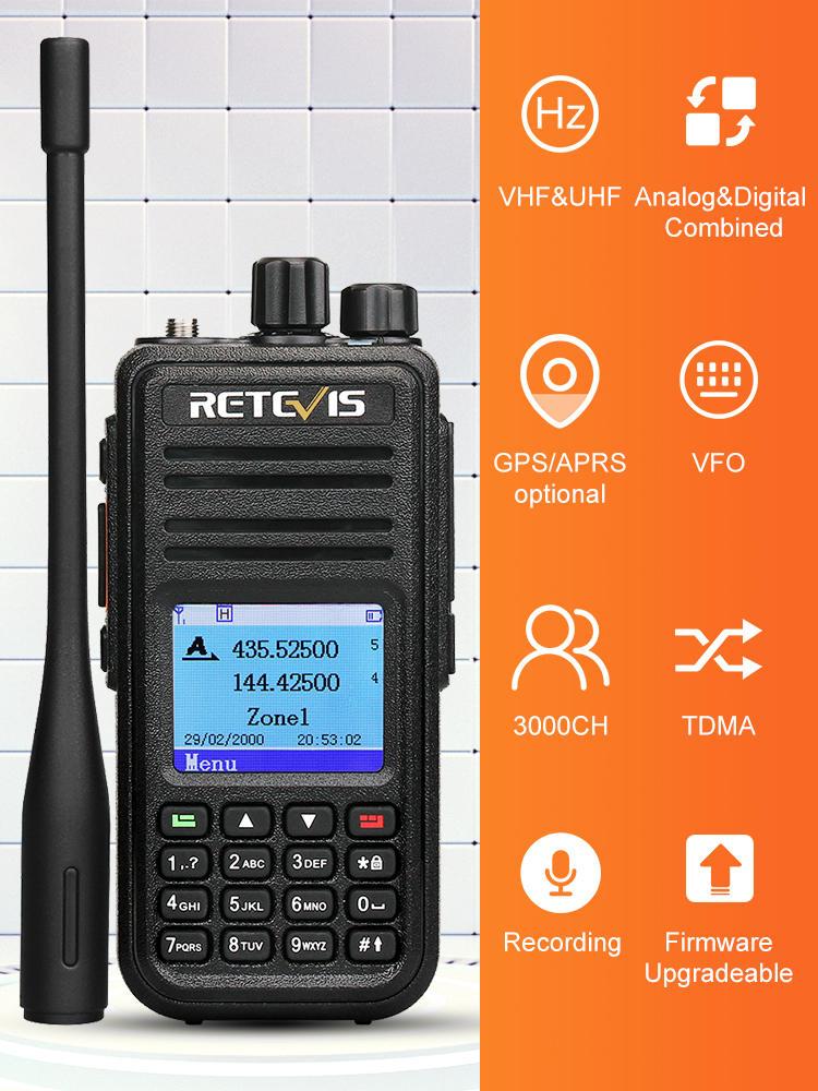 Walkie-Talkie Ham Radio Dual-Band Retevis Rt3s Digital DMR Mototrbo/tyt UHF GPS Amador