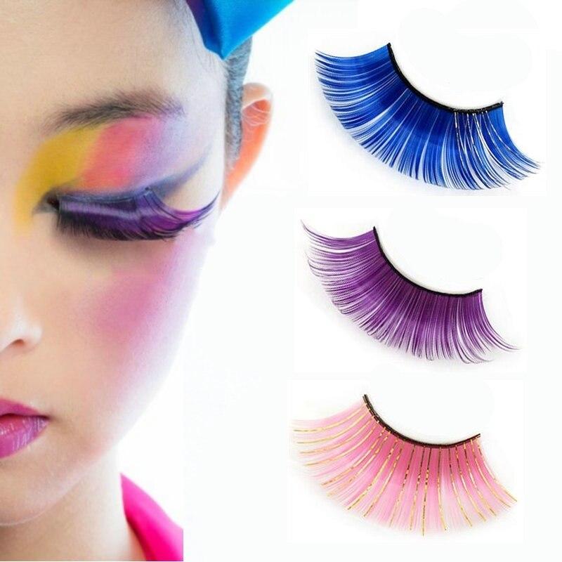 1 Pair Colorful Thick Plus Long False Eyelash Festival Party Costume Eye Lashes Women Pretty Charming False Eyelash Makeup Tools