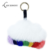 Creative plush color cloud keychain ladies bag rainbow plush key ring pendant car key mouth accessories children's small gift small fire cloud figure car stickers multi color 10 pair pack