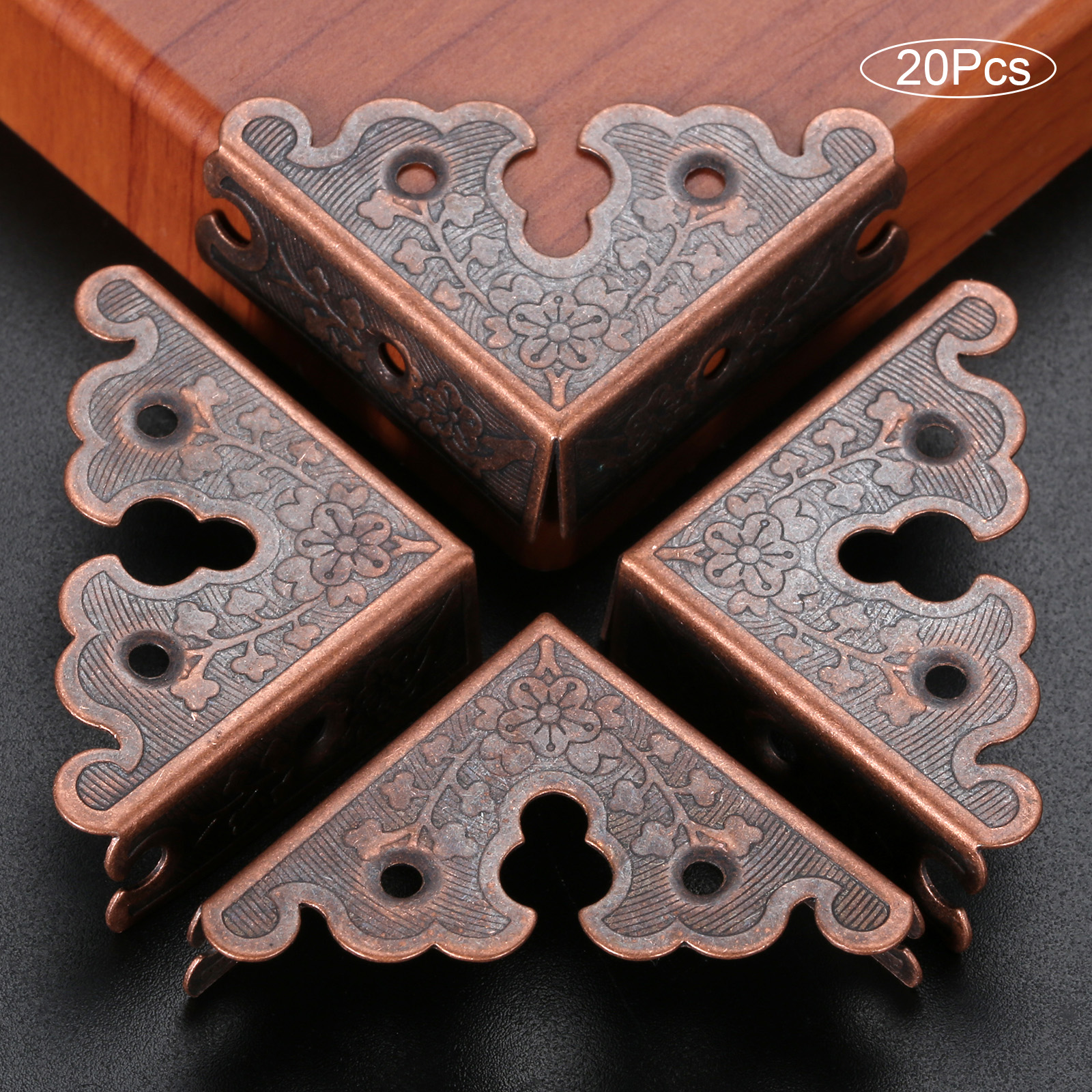 DRELD 20pcs Antique Iron Triangle Corner Wooden Box Corners Furniture Protector Decor Print Pattern Carved Protectors 34mm