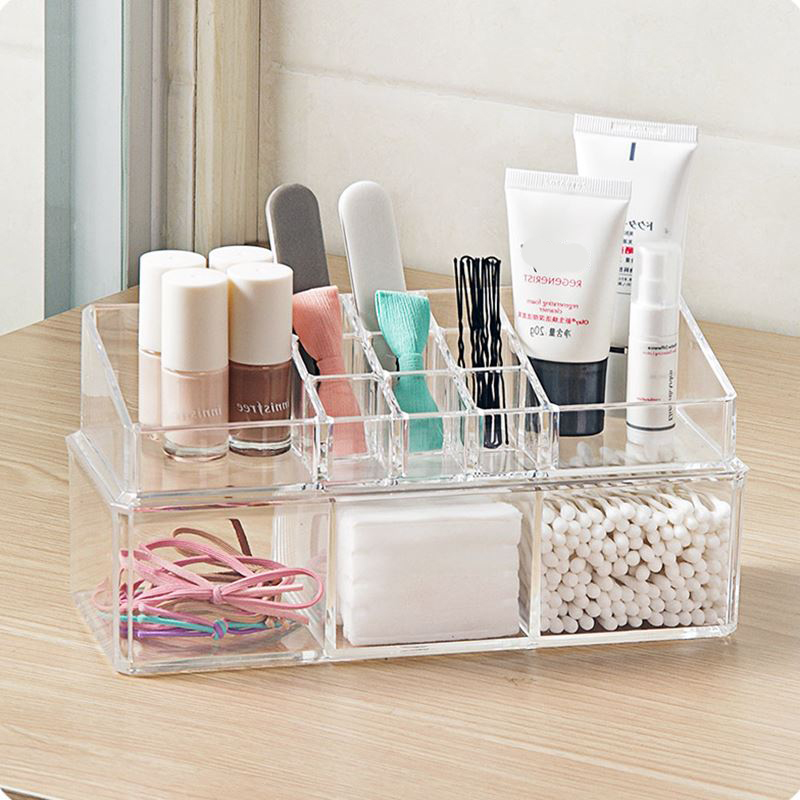 Portable and Transparent Makeup Organizer with Compartments of 18 Grids made of Acrylic for Storage of Beauty Products 2