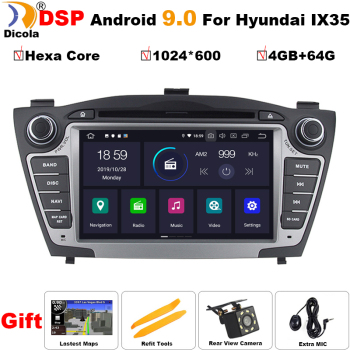 4G+64G PX6 Hexa Core Android 9.0 Car DVD Player for Hyundai Tucson IX35 2009-2015 Auto Multimedia Stereo Radio GPS Navi System