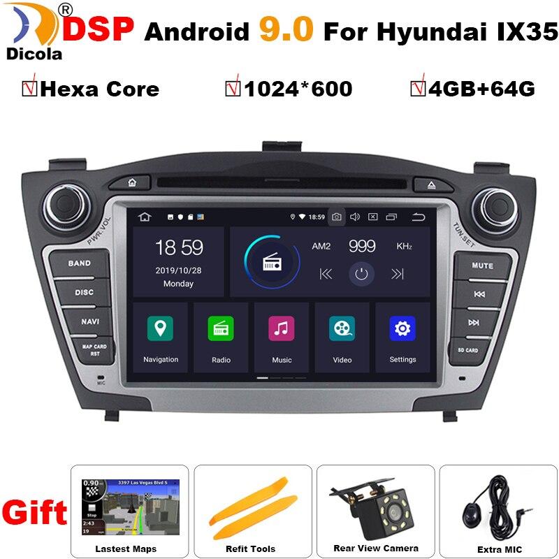 4G+64G PX6 Hexa Core Android 9.0 Car DVD Player for Hyundai Tucson IX35 2009-2015 Auto Multimedia Stereo Radio GPS Navi System