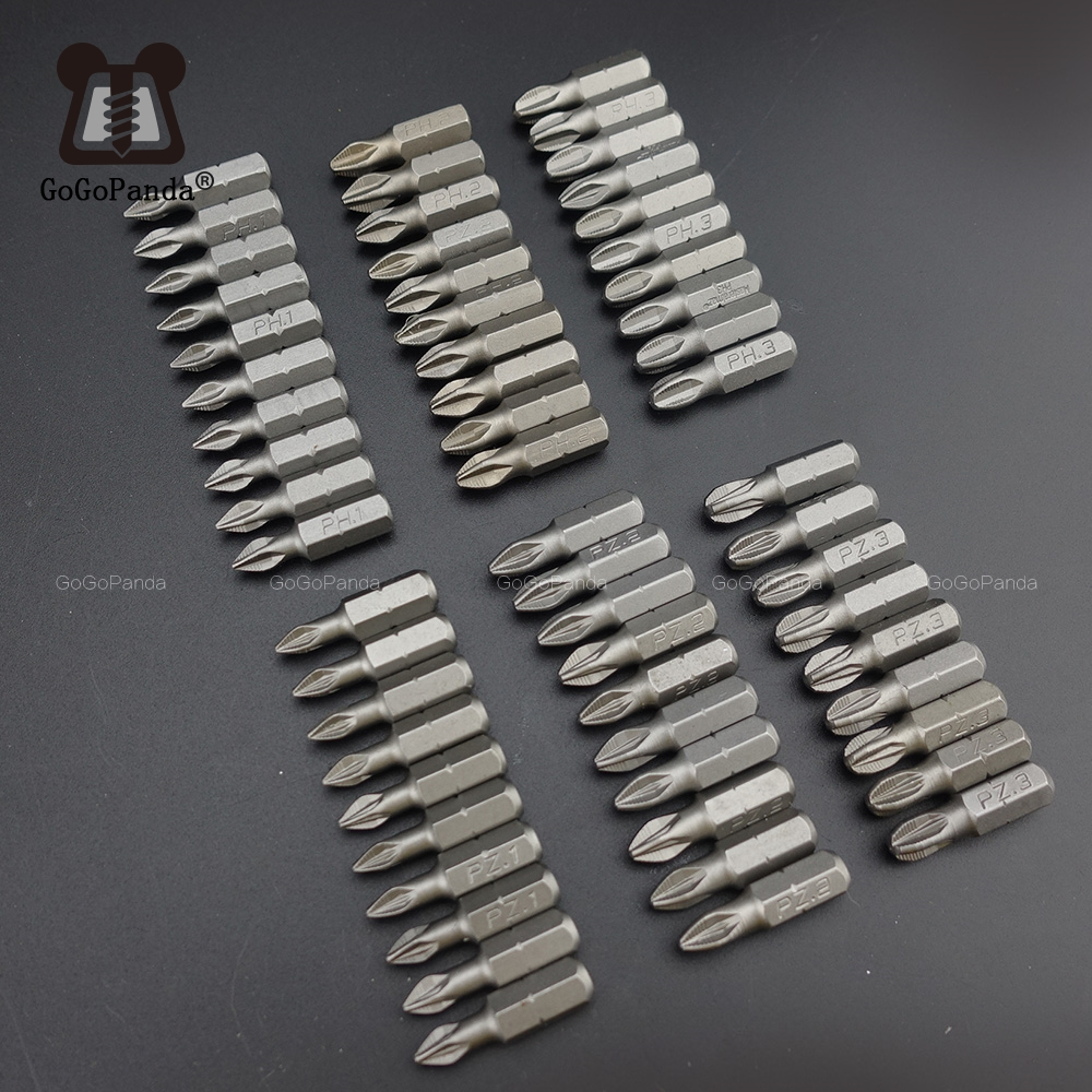 10Pcs/Lot 25mm CR-V PZ/PH Pozidrive Phillips Bits Hex Shanked Anti Slip Screwdriver Bits Magnetic Single Head PZ1 PZ2 PZ3 6.35mm