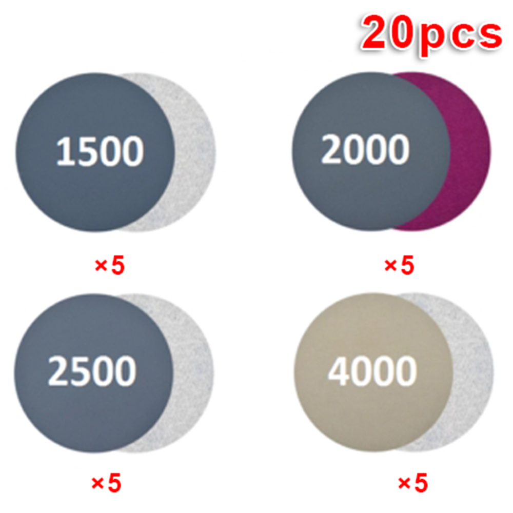 20pcs/set Wet/Dry 3 Inch 1500 2000 2500 4000 Grit Sand Paper Sanding Discs Tools High Cutting Strength