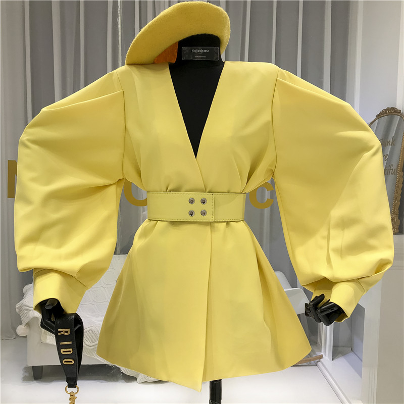 2020 Autumn Suit Balzer Korean Vintage Blazer Coat Female Women Lace Up Belt Officce Lady Workwear Blazer Outwear Spring XZ22