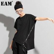 [EAM] Women Black Big Size Casual Irregular Zipper T-shirt New Round Neck Short Sleeve Fashion Tide Spring Summer 2021 1DD8098