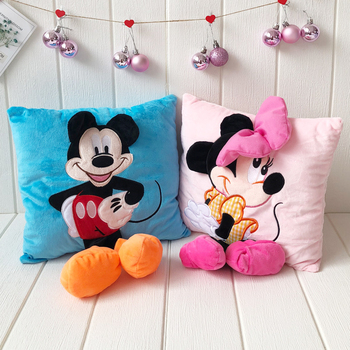 35cm 3D Mickey Mouse And Minnie Mouse Plush Pillow Donald Duck Goofy Kawaii Mickey And Minnie Soft Cushion Doll Toy For Kid Girl цена 2017