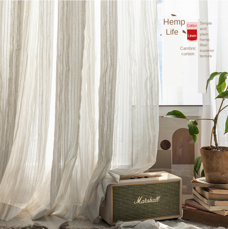 Japanese type contracted cotton linen stripe curtain yarn is used at balcony gauze shade kitchen bedroom sitting room curtain