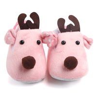 Hot Lovely Toddler First Walkers Baby shoes Deer Prints Round Slip On Soft Slippers Shallow Christmas Gift Footwear For Newborns