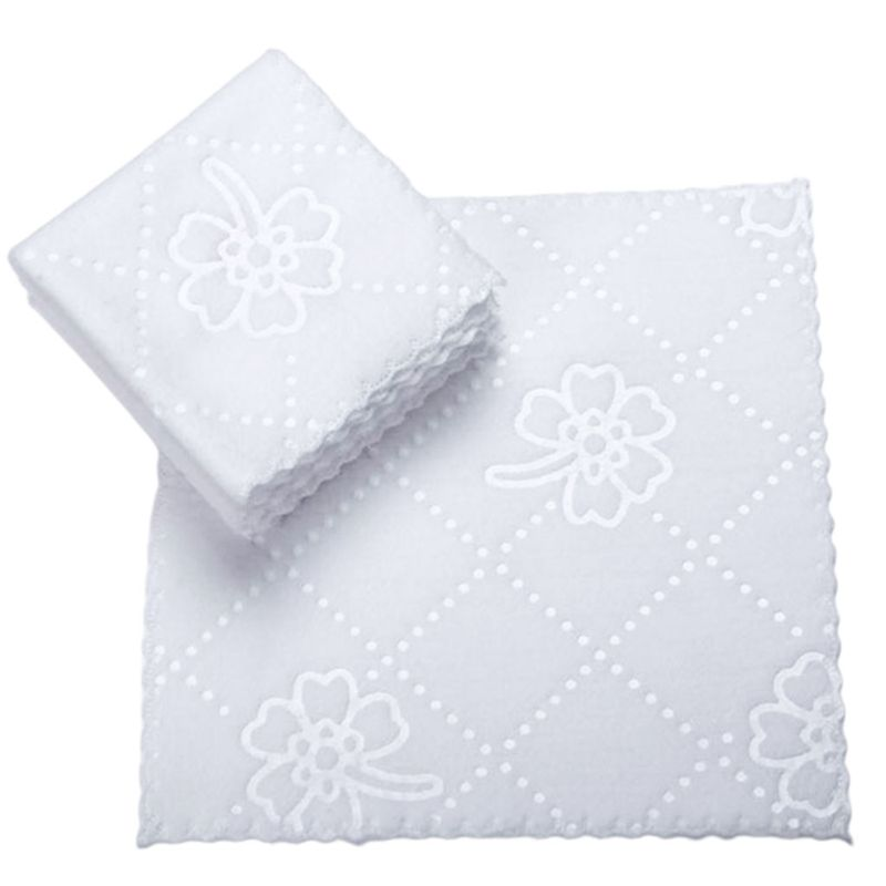 1Pc Ultrasonic Cut Edge Lace Square White Napkin Wmbossed Fiber Wipes Handkerchief Disposable Supplies For Hotel Restaurant