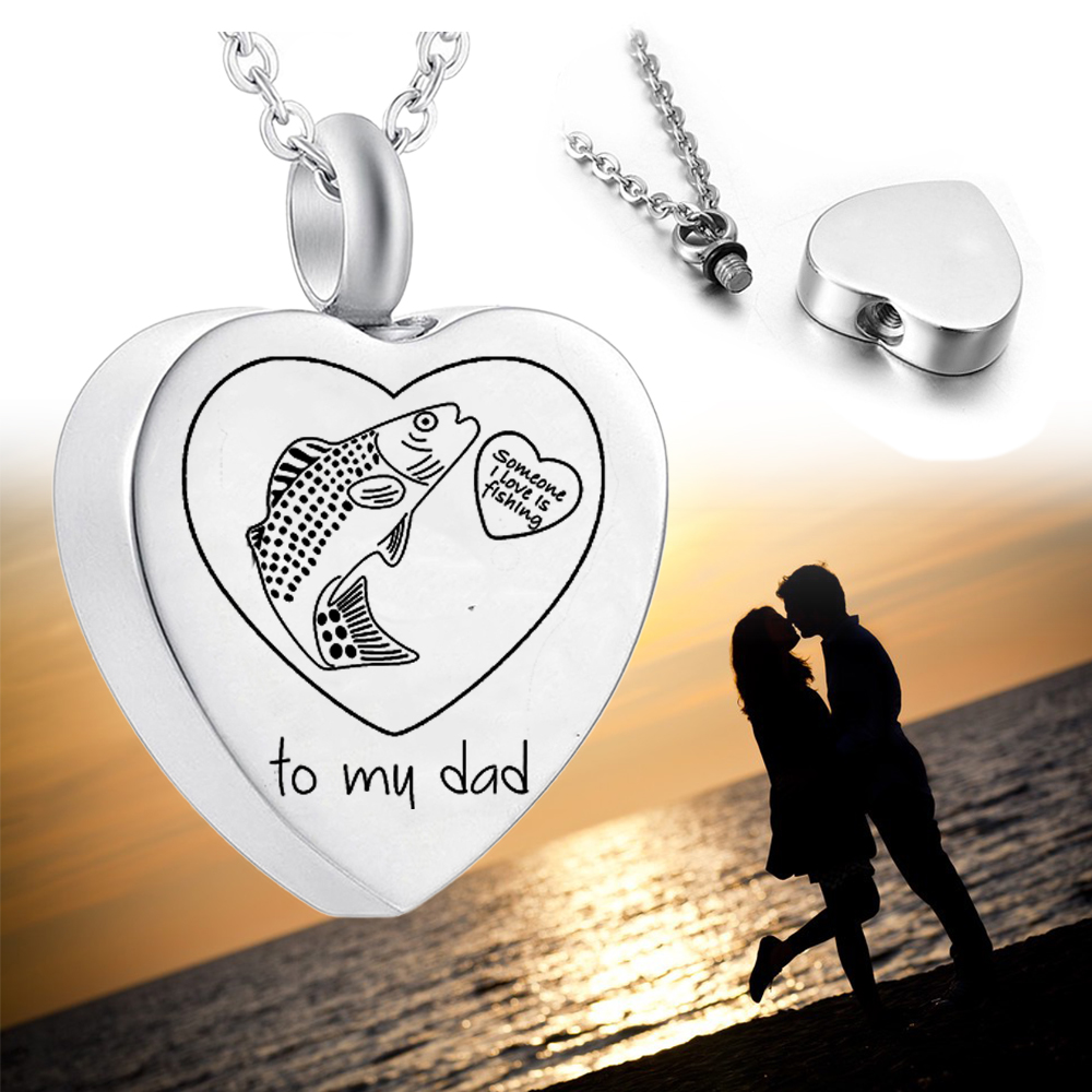 Keepsake Urn for Dad Ashes Engraving Fish Cremation Urns for Ashes Stainless Steel Cremation Jewelry Necklace-Free Engraving