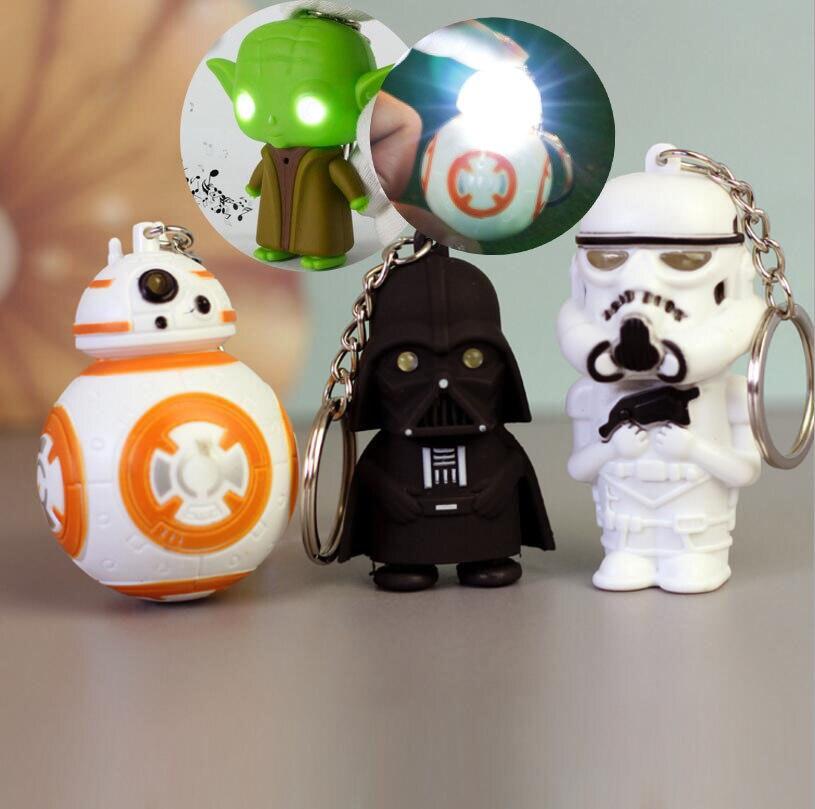 Disney 1PCS LED Flash Light Sound Star Wars Keychain Darth Vader BB8 Master Yoda Key Chain Keyring StarWars Characters Doll