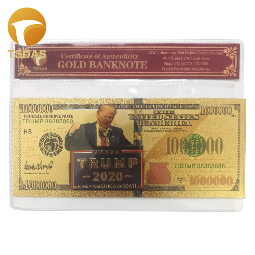 Colored Gold Banknotes <font><b>Trump</b></font> <font><b>2020</b></font> Usd One Million Dollar Notes Best Gifts for Collection Business Souvenir with Plastic Frame image