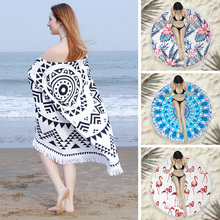 Multi-functional beach towel superfine fiber circular fringed Shawl NEW quick-drying summer camping mat