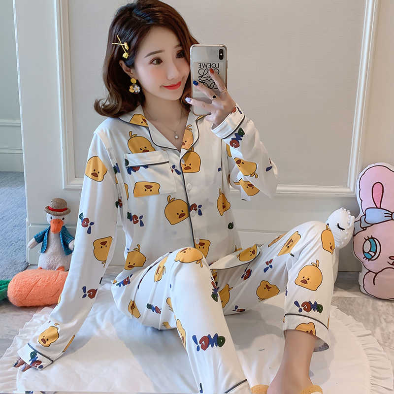 Cute Cartoon Plus Size Pajamas for Pregnant Women long Sleeve Cotton Pyjamas Set autumn Sleepwear Maternity Home clothing suit
