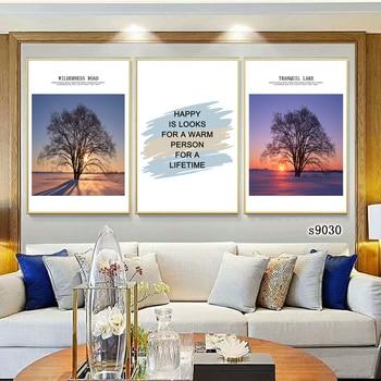 Alphabet tree sunset art poster decorative painting living room wall canvas
