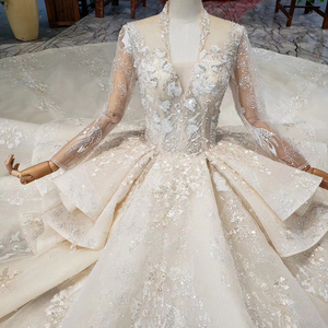 Image 3 - HTL958 luxury ball gown wedding dresses cathedral v neck appliques wedding gowns button back champagne vestidos novias boda 2020