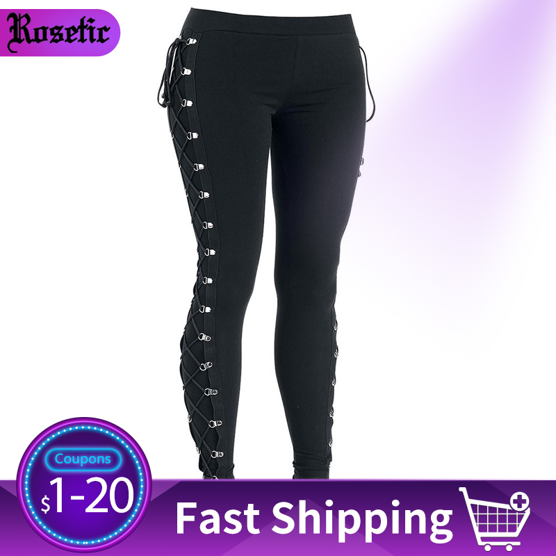 Rosetic 2019 Fall Casual Gothic Office Lady Punk Style Women Leggings Plain Thin Cotton Straight Female Black Leggings