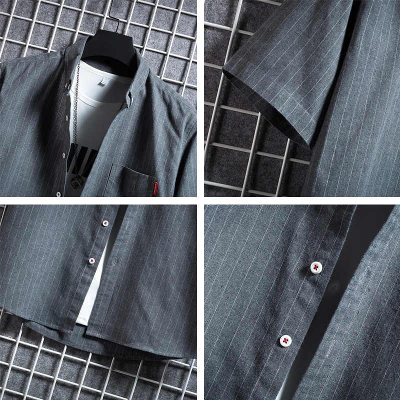 男性シャツストライプ半袖ドレスストライプフォーマルシャツブラック新2020夏カジュアルスリムフィットポケット高品質ビジネス