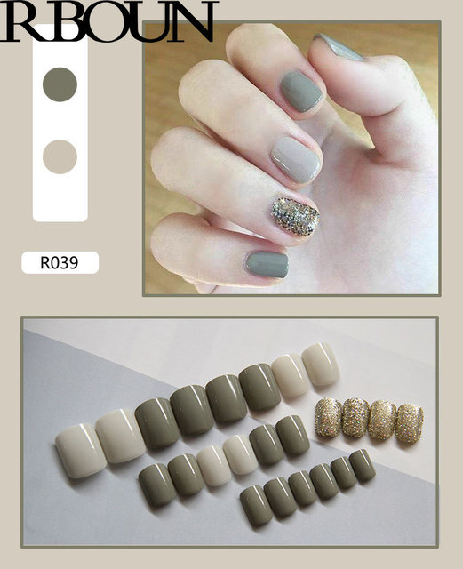 Nail Tip Fake Art Press on Nails with Glue Designs Set Full Artificial Short Packaging Kiss False Clear Cover Tipsy Stick Square 4