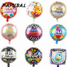 10 pçs 18 polegada forma redonda feliz cumpleanos espanhol feliz feliz aniversário decoração da festa de aniversário mylar folha balões de hélio globos bolas de ar