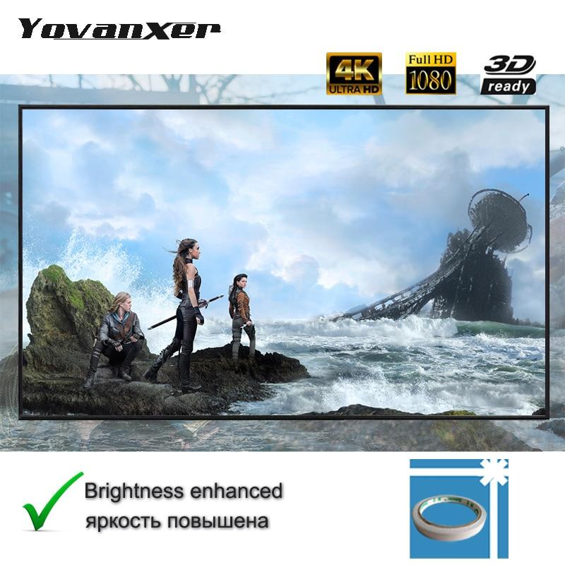 Tecido Refletivo Yovanxer Projetor Tela 84 72 polegada polegada 100 polegada 120 polegada 130 polegada 133 polegada Projeção Aumentar O Brilho