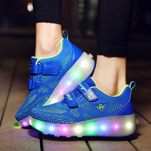 LED Light Sneakers with Double TWO Wheel Boy Girl Roller Skate Casual Shoe with Roller Girl Zapatillas Zapatos Con Ruedas